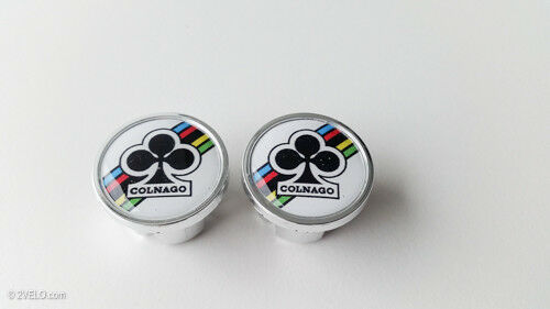 Vintage style COLNAGO Handlebar End Plugs white