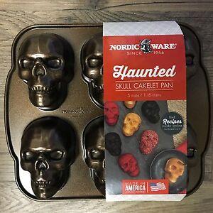 6 Nordic Ware Skeleton Skull Pan Halloween 3d Mini Cake