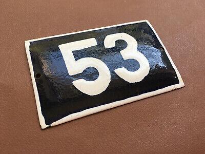 Antique Vintage French Enamel Sign Number 44 European Street House Blue Door Gate Sign 1950/'s