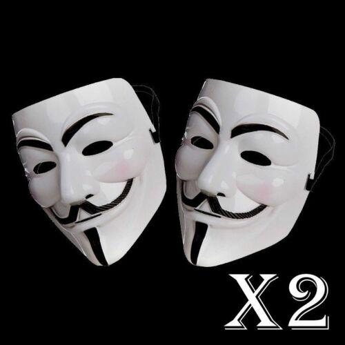 2 X ANONYMOUS HACKER V FOR VENDETTA GUY FAWKES FANCY DRESS HALLOWEEN FACE MASK
