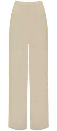 Womens Plus Plain Palazzo Wide Leg Flared Ladies Trousers Pants Size 8-26