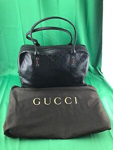 74a508cdab Image is loading Gucci-Signature-GG-Bowler-Bag-Black-293595-506631