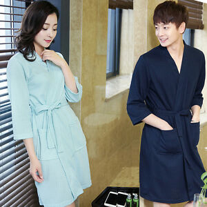 ad1a9a4163 Details about Unisex Summer Nightgowns Waffle Bath Robe Cotton Suck Sweat  Kimono Bathrobe