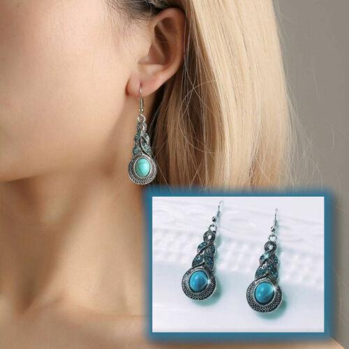 Bohemia azul Piedra Con Incrustaciones De Plata Tibetana Turquesa Cristal Cuelgan Aretes de Gota