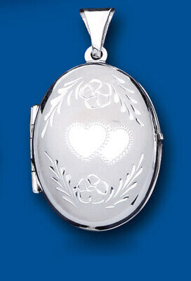 Gerade Sterling Silver Family Locket Oval 4 Photo Heart Design 925 Hallmark All Lengths