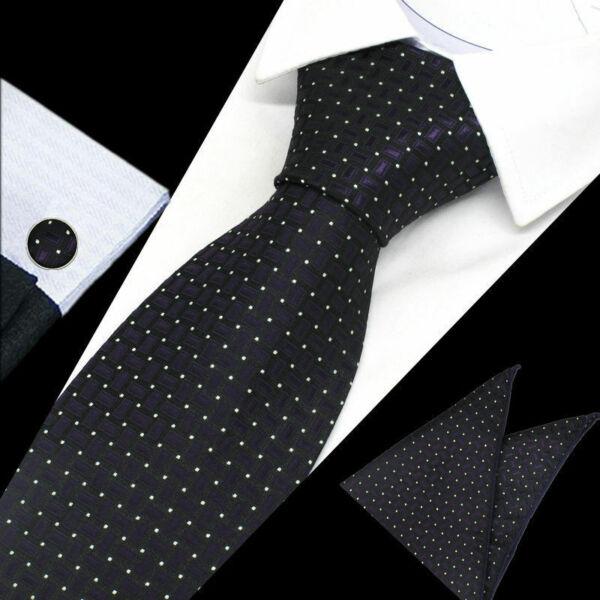 Adaptable Negro De Hombre Púrpura Blanco Lunares Cuadros Corbata Seda Pañuelo Gemelos