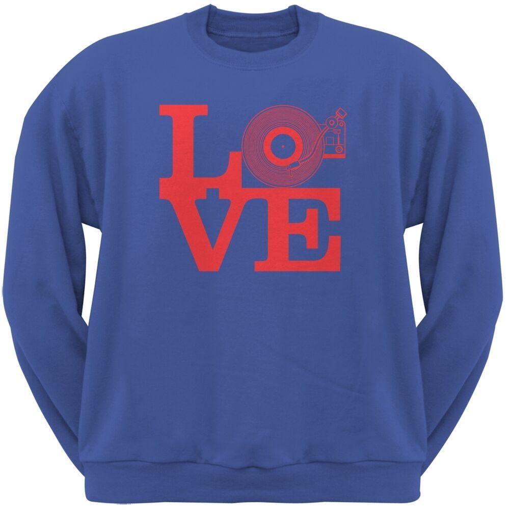 Love Record Player Royal Adult Sweatshirt