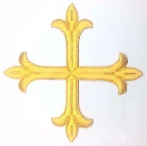 Vintage-Frances-Cuadrado-Cruz-6-034-Bordado-con-Plancha-Oro-k-Emblema-Parche-2PC