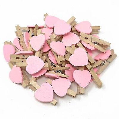 30mm White Peg and 17mm Blue Wood Hearts Craft For Shabby Chic Vintage Wedding