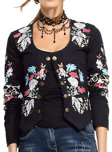 Avec 38 40 Marque 0118497354 Blazer Jacket florale broderie Black Gr ZxFwOqHB