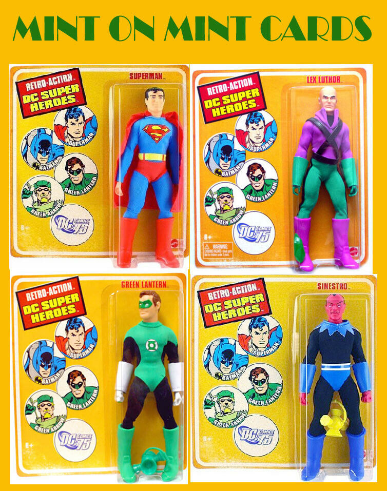 DC SUPERHEROES RETRO azione  SUPERuomo, verde LANTERN, LEX LUTHOR, SINESTRO MINT  risparmia il 50% -75% di sconto