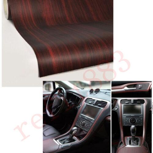 45CM x 120CM Car Interior Wood Grain Textured Vinyl Wrap Sticker Decal Teak Red
