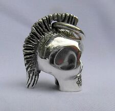 Sterling Silver  (925)  Mohican  Skull  Pendant    !!      Brand  New !!