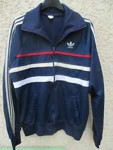 Détails sur Veste ADIDAS FIRST vintage bleu marine jacket giacca ventex 80's sport 180 L