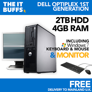 DELL-Dual Core 4gb 2tb HDD Windows 7-FULL Bundle Desktop PC Computer