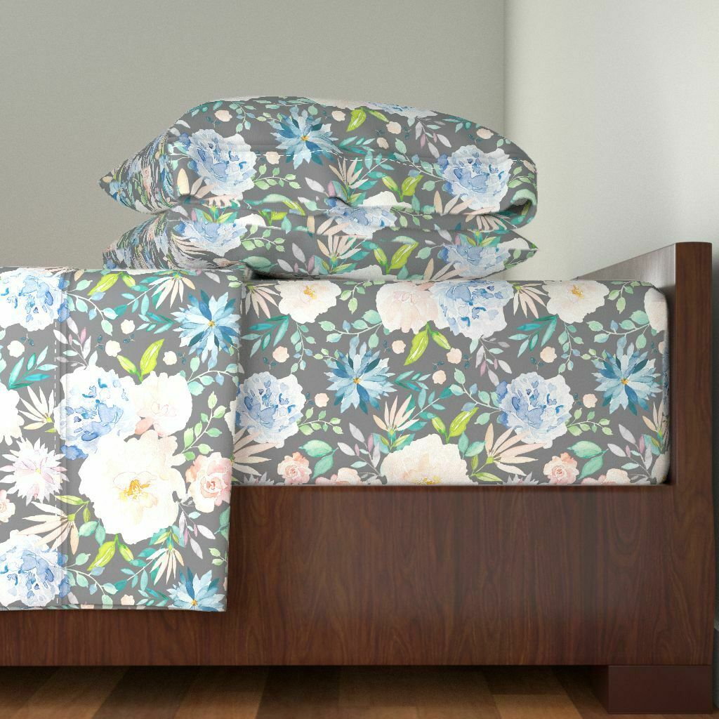 Soft Pastel Floral WaterColoreee Peony 100% Cotton Sateen Sheet Set by Roostery