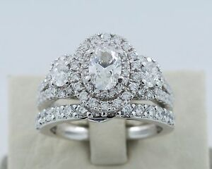 Vera Wang Wedding Rings.Details About 14k White Gold Vera Wang Love Collection 2 2tcw Diamond And Sapphire Bridal Set