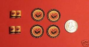 Dollhouse-Miniature-Halloween-Pumpkin-Plates-Cups-1-12-scale-H13-Dollys-Gallery