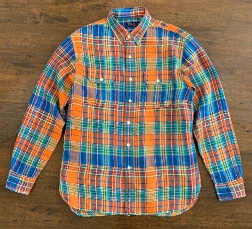 Ralph Lauren Men Polo Shirt Checked Pattern Orange