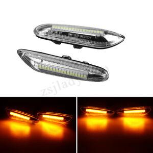 2x-LED-Ambre-Clignotant-Feux-Repetiteur-D-039-aile-pour-BMW-E46-E60-E82-E88-E90-E92