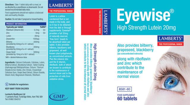 Lamberts Eyewise High Strength Lutein 20mg,Zeaxanthin,Plant Polyphenols ,B2+Zinc