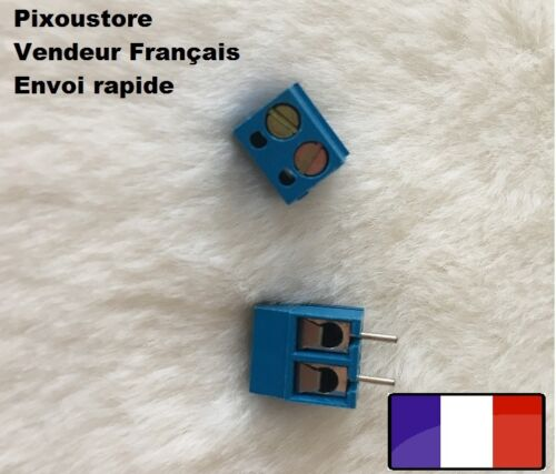 Lot de Bornier à vis bleu droit 2 plots pour CI juxtaposable Neufs 2-15