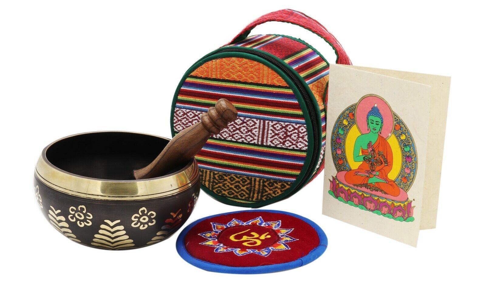 "6"" Antique Hand-hammerot Tibetan Singing bowl  Meditation Kit for Zen Practice"