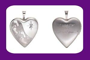 Impresiones-De-Pie-Corazon-Medallon-De-Plata-De-Ley-Diamante-925-Sello-todos-longitudes-de-cadena