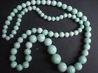 Collier vintage chute en perles de verre marbré couleur menthe ancien