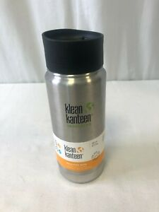Klean Kanteen Vacuum Insulated Wide Bottle W/Cafe Cap 2.0 Brushed Stainless 16oz