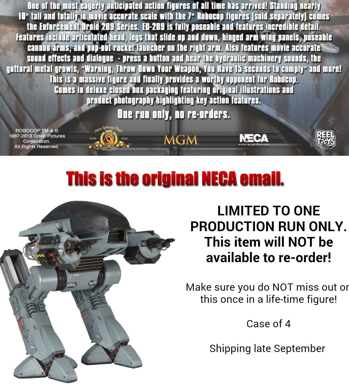 """NECA RoboCop ED-209 Deluxe Boxed 10/"""" Action Figure With Sound New Sealed"""