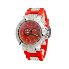 Red Silver Mens Geneva Watch Oversized Luxury Designer Silicone Band Sports