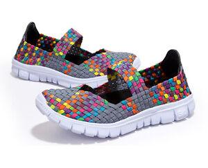 Women-Handmade-running-shoes-Walk-Women-039-s-Breathable-Slip-on-Woven-Stretch-Mesh