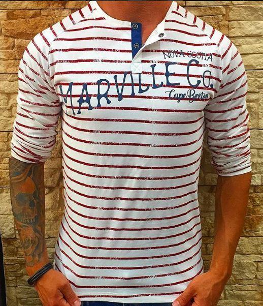 T-shirt serafino girocollo MARVILLE 100% COTONE MANICA RAGLAN