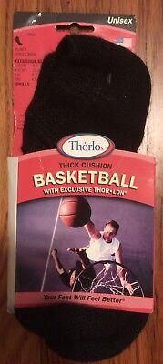 Thorlos TLO Thick Cushion Black Mini Crew Basketball Socks Large L BMX13 unisex