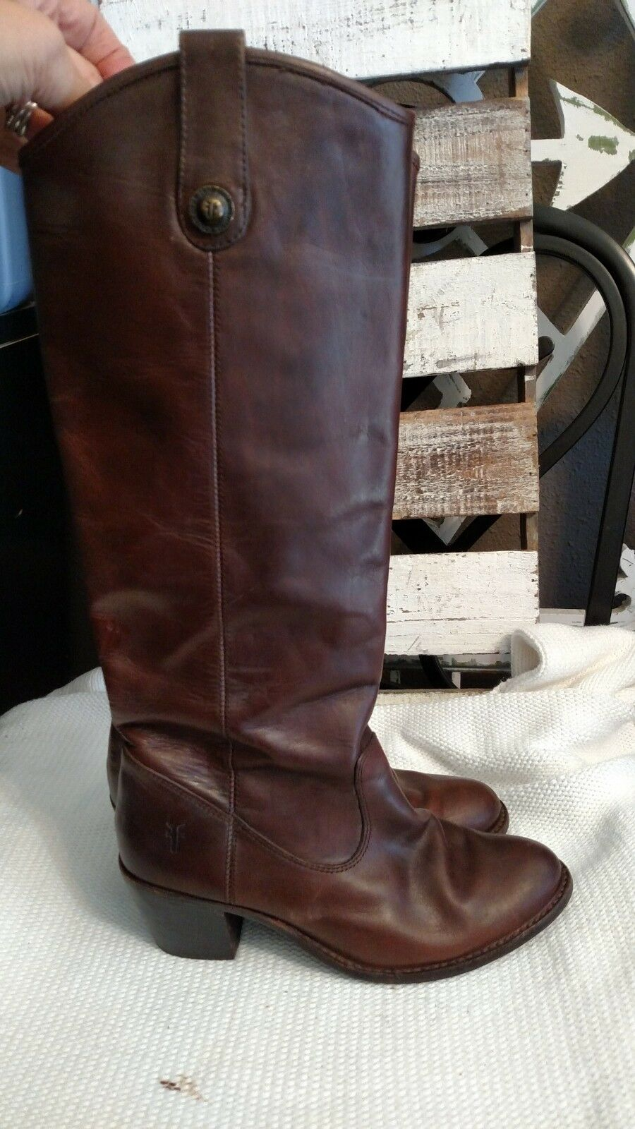 Frye 76576 Jackie Button Brown Leather Size 6 6 6 B knee high heel boots 873b38