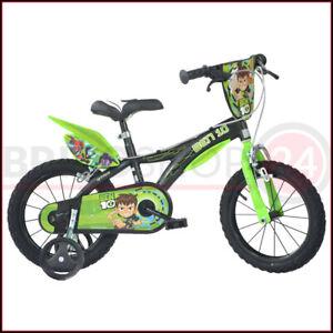 Bicicletta-Ben-10-14-Pollici-3-4-5-6-Anni-con-Pedali-Rotelle-Freni-Bambino-Bici