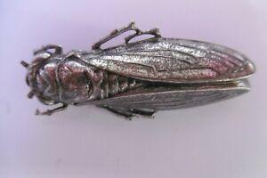 broche cigale en métal argenté ancienne 5cm