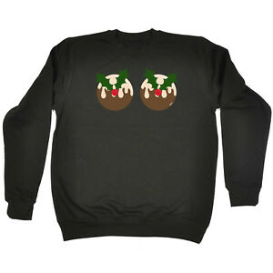 23448cc85d6da Image is loading Funny-Novelty-Sweatshirt-Jumper-Top-Christmas-Pudding-Boobs