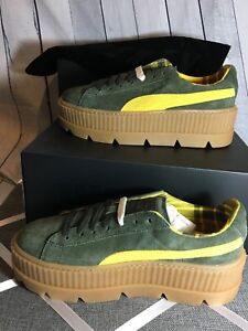 best service 1541e a05d1 Details about NIB PUMA FENTY by Rihanna CLEATED CREEPER SUEDE Women's  Sneakers Green Yellow