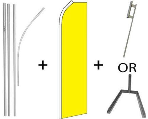 SUPER FLAG /& GROUND SPIKE OR TIRE BASE MOUNT FLUTTER YELLOW KIT=16FT POLE SET