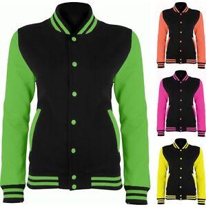 Awdis Just Hoods Womens//Ladies Electric Varsity Jacket Jet Black//Electric Pink L