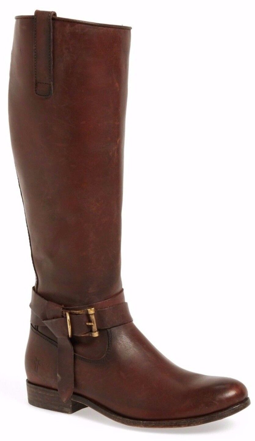 NWT  398 Frye Melissa Knotted Tall Pelle Riding Donna Boot Redwood Brown Sz 6