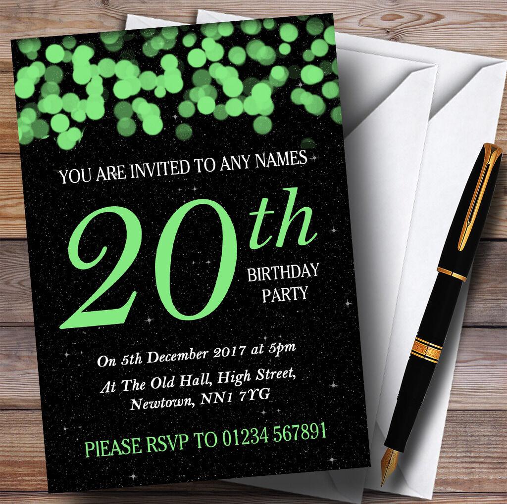 Grün Bokeh & Stars Stars Stars 20th Personalised Birthday Party Invitations 3b96be