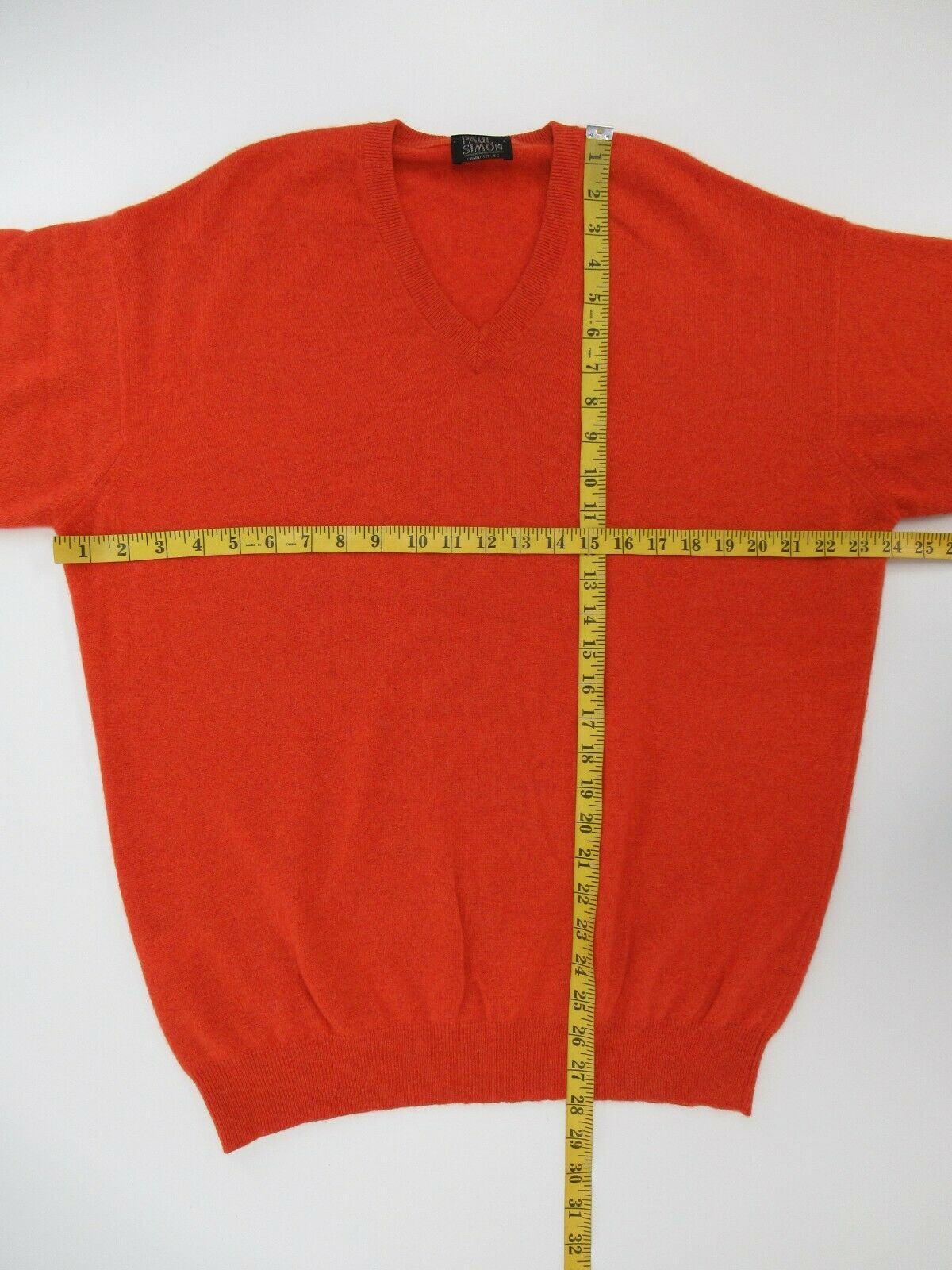 Paul Simon Men's 100% Cashmere Orange V-Neck Swea… - image 3