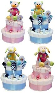 Large-Nappy-Cake-2-Tier-Baby-Gift-Choice-Girl-or-Boy-Design-My-1st-Toy-Dog-Cat