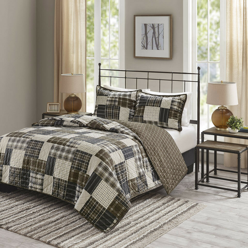 BEAUTIFUL COZY PLAID braun COUNTRY WESTERN RUSTIC TAN LOG CABIN LODGE QUILT SET