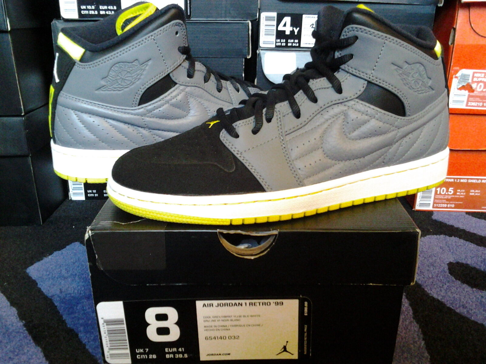 Nike Air Jordan I 1 Retro 99 XIV Cool White Grey Vibrant Yellow Black White Cool 654140 032 a81eb1
