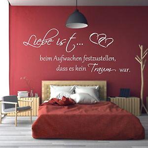 Details zu Wandtattoo ++Schlafzimmer Liebe ist beim  Aufwachen++Wandaufkleber Spruch