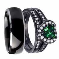 His & Hers Titanium Created Emerald Solid Sterling Silver Wedding Ring Band Set